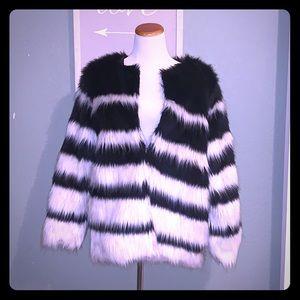 Funky Faux fur striped coat